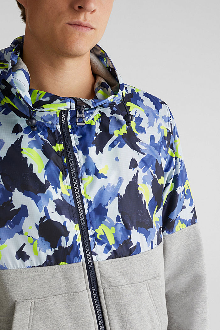 Hooded jacket made of sweatshirt fabric and nylon, MEDIUM GREY, detail image number 2