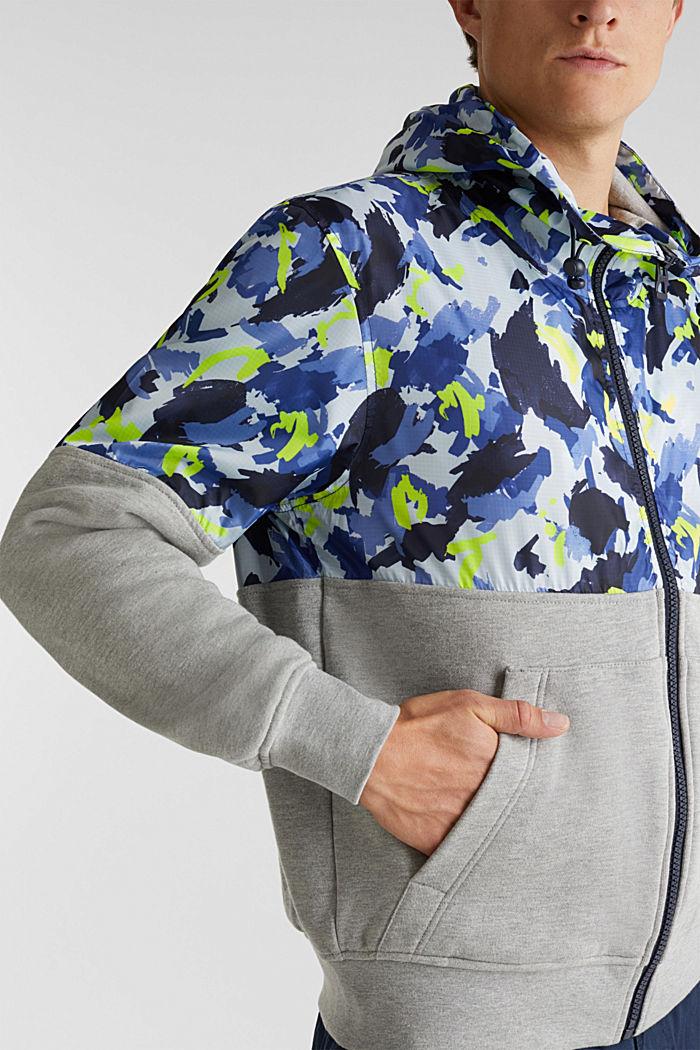 Hooded jacket made of sweatshirt fabric and nylon, MEDIUM GREY, detail image number 5