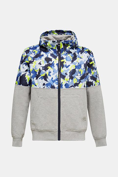 Hooded jacket made of sweatshirt fabric and nylon