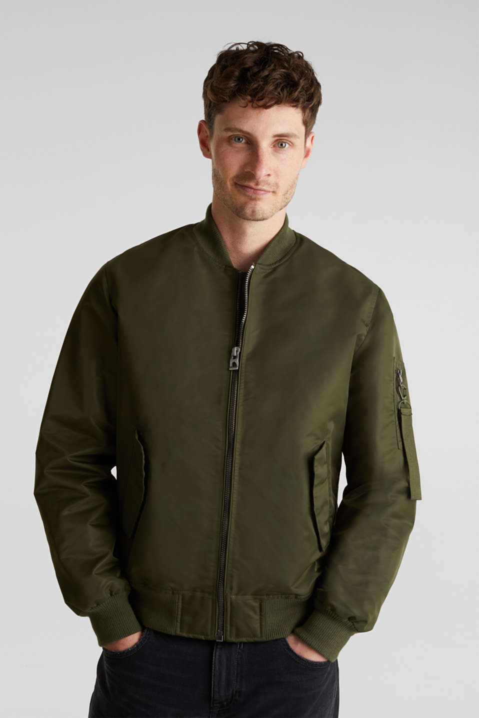 Bomber jacket with ribbed borders, GREEN, detail image number 0