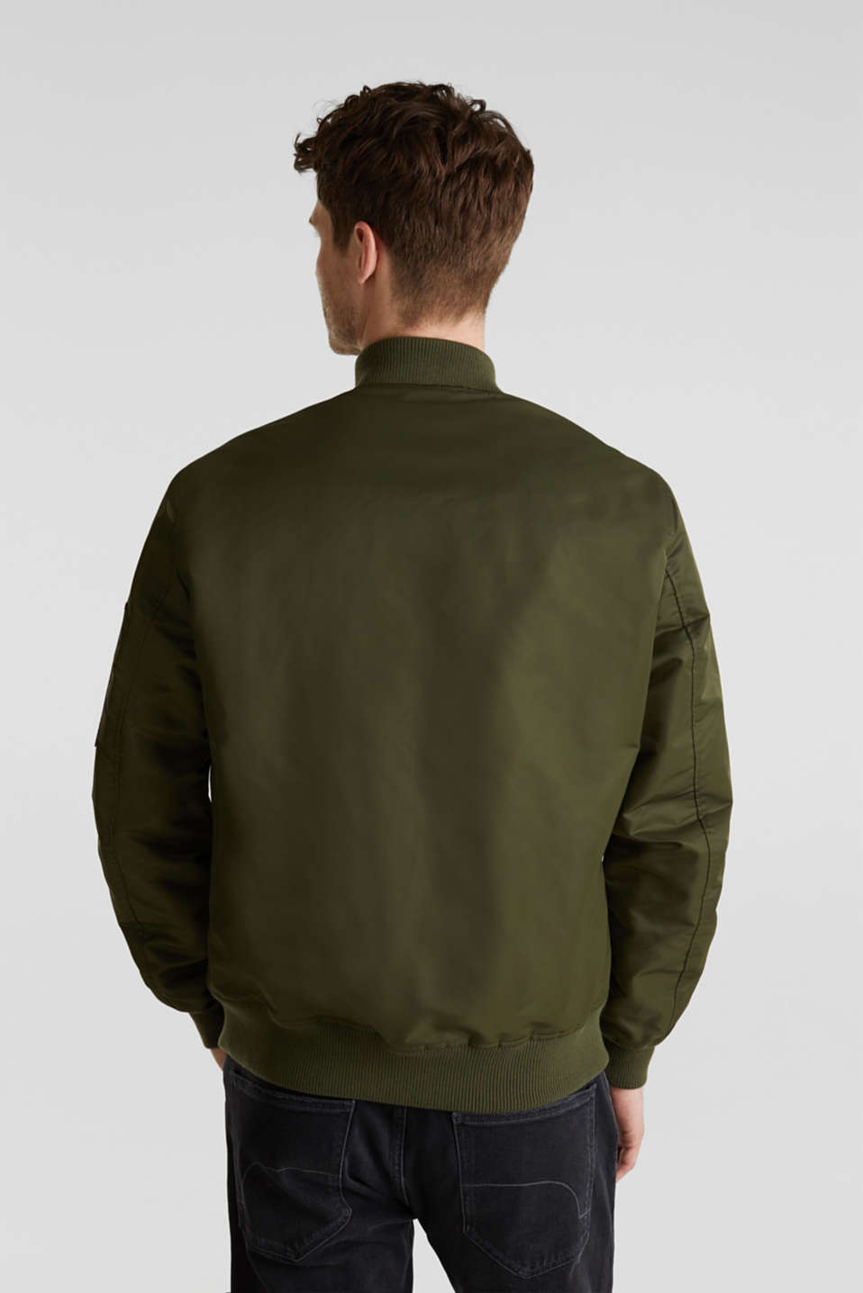 Bomber jacket with ribbed borders, GREEN, detail image number 3