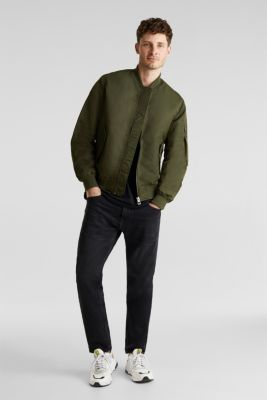 Bomber jacket with ribbed borders, GREEN, detail