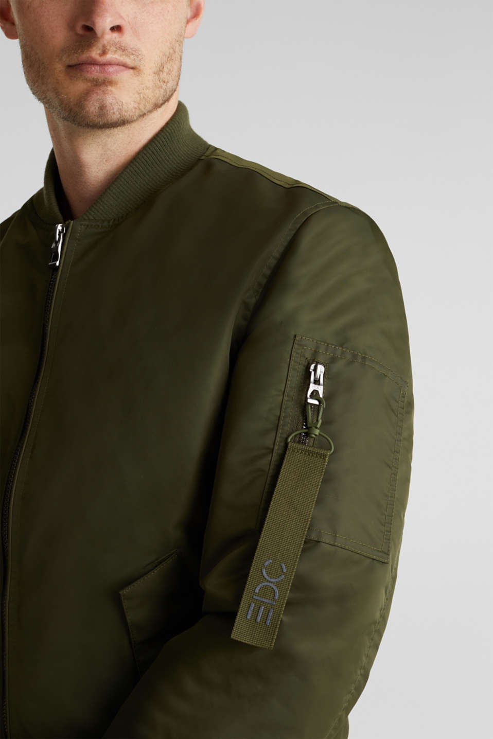 Bomber jacket with ribbed borders, GREEN, detail image number 2