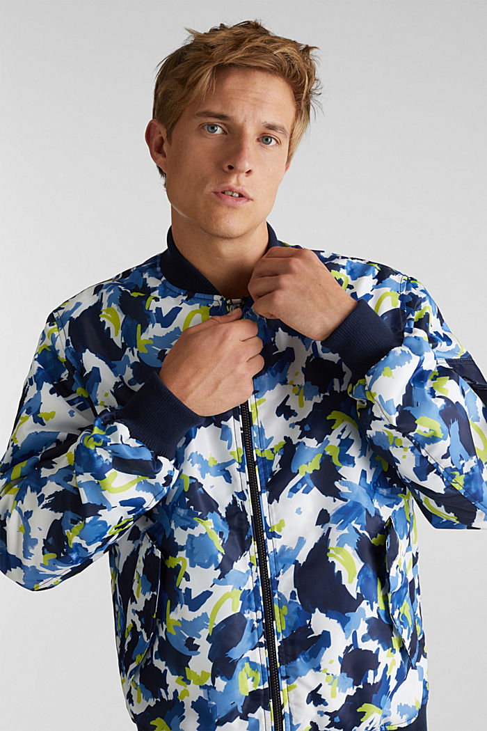 Bomber jacket with multicoloured print, NAVY, detail image number 0