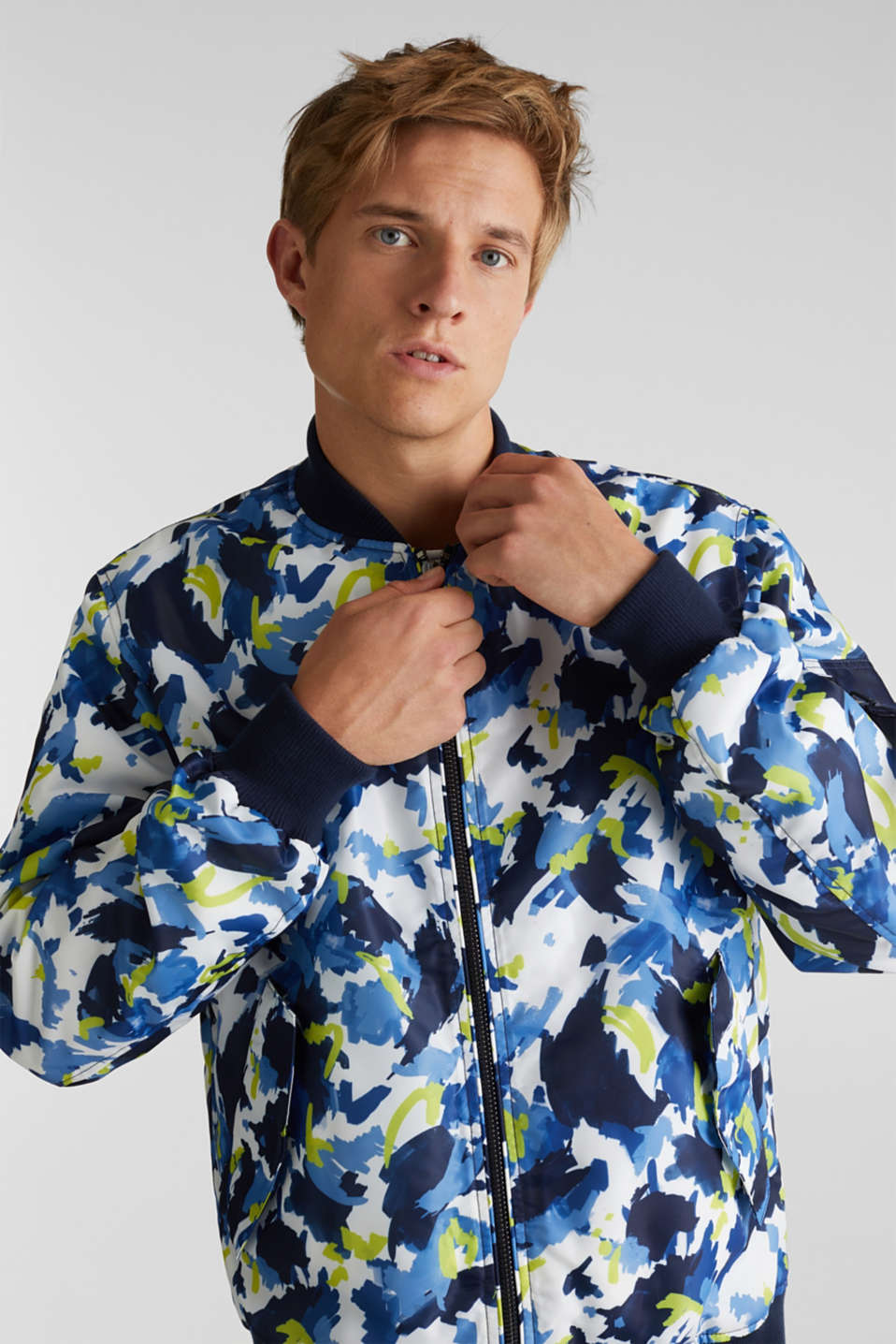 Bomber jacket with multicoloured print, NAVY 4, detail image number 0