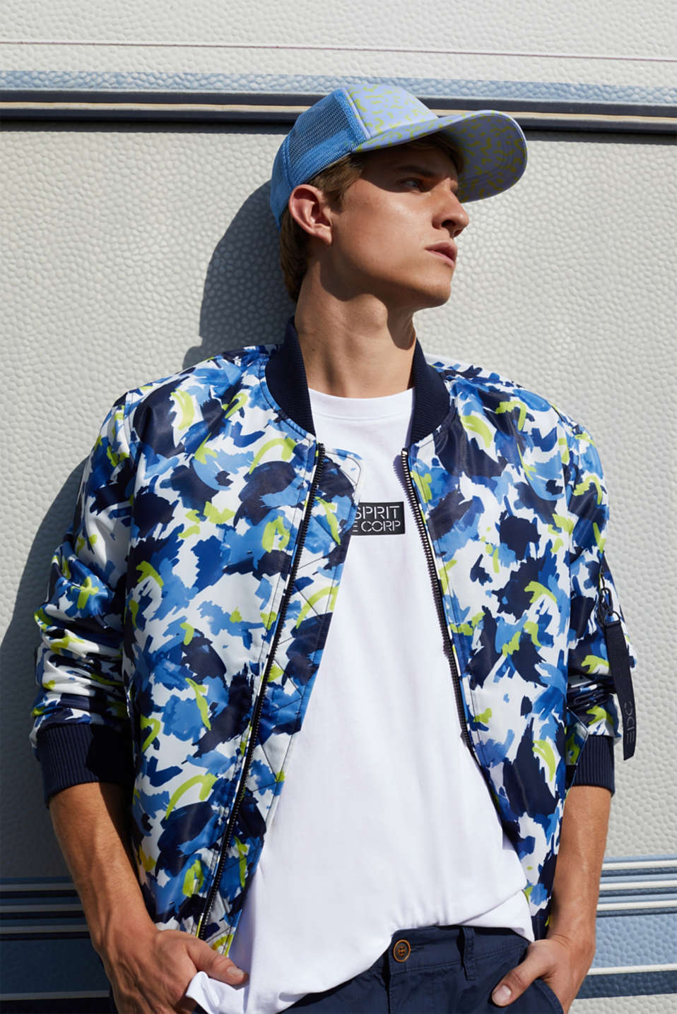 Bomber jacket with multicoloured print, NAVY 4, detail image number 4