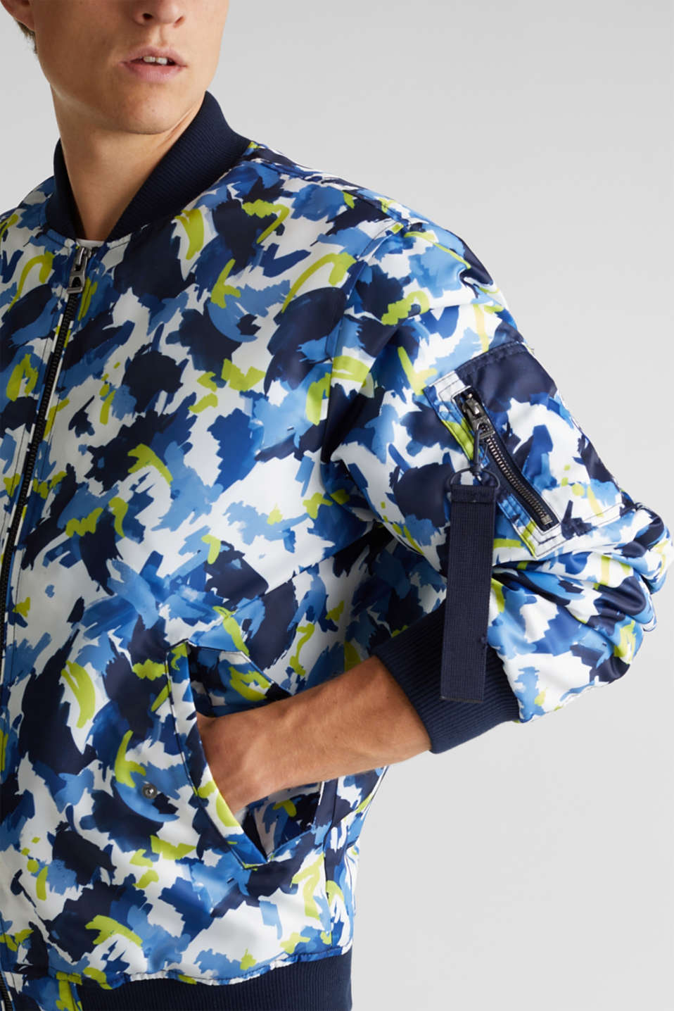 Bomber jacket with multicoloured print, NAVY 4, detail image number 2