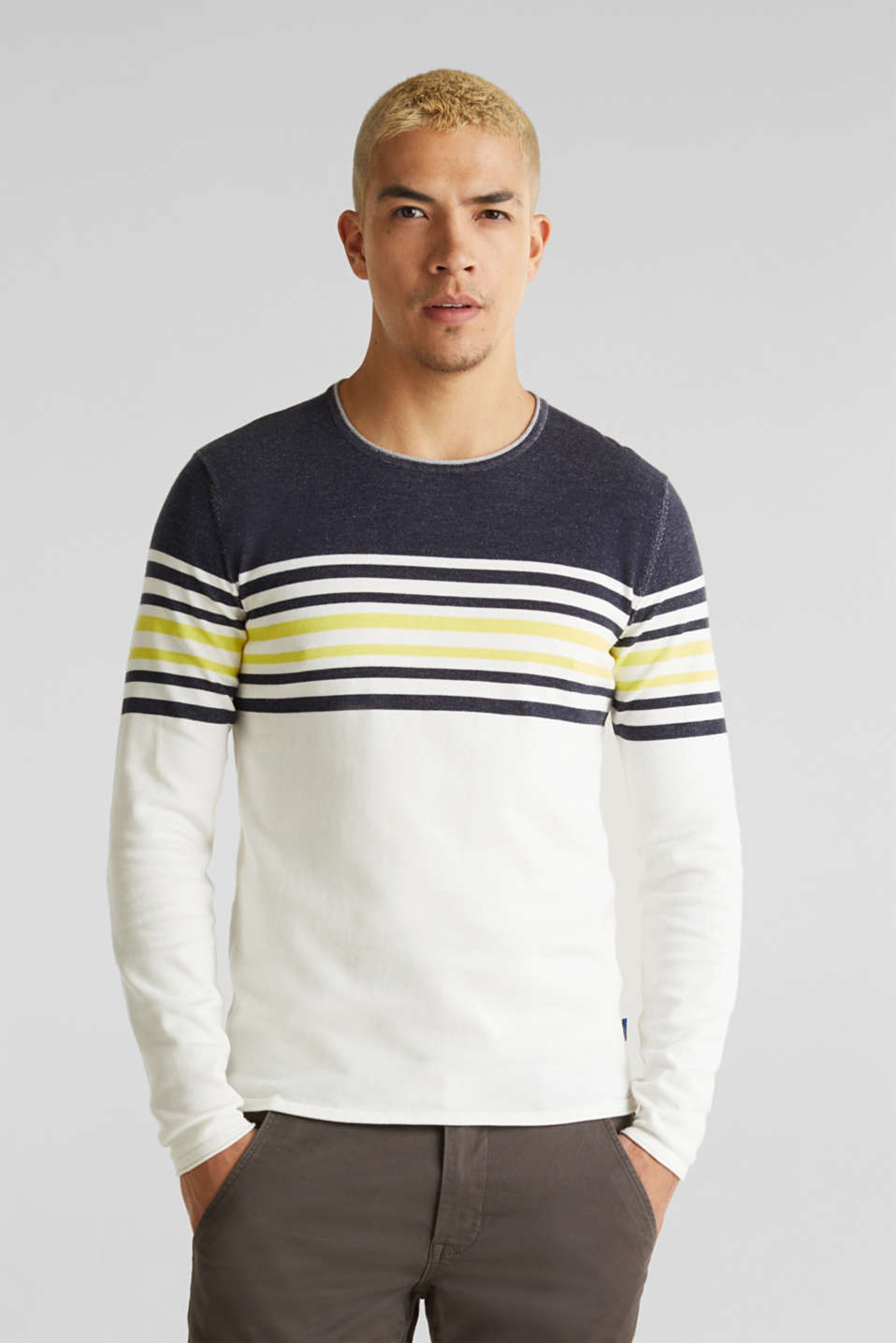 Colour block jumper, 100% cotton, NAVY 3, detail image number 0