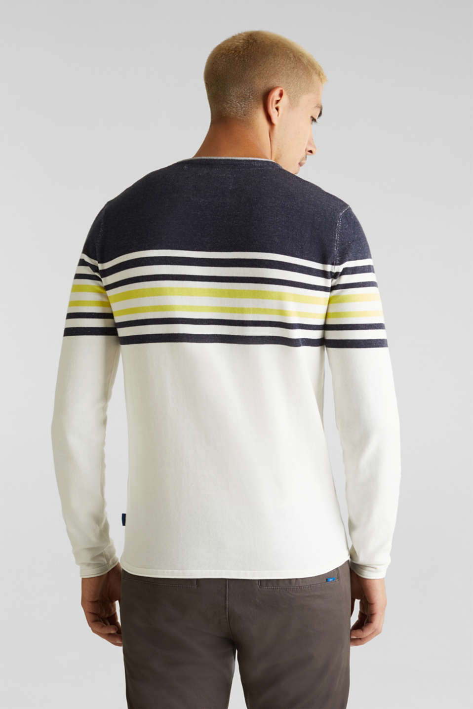 Colour block jumper, 100% cotton, NAVY 3, detail image number 3
