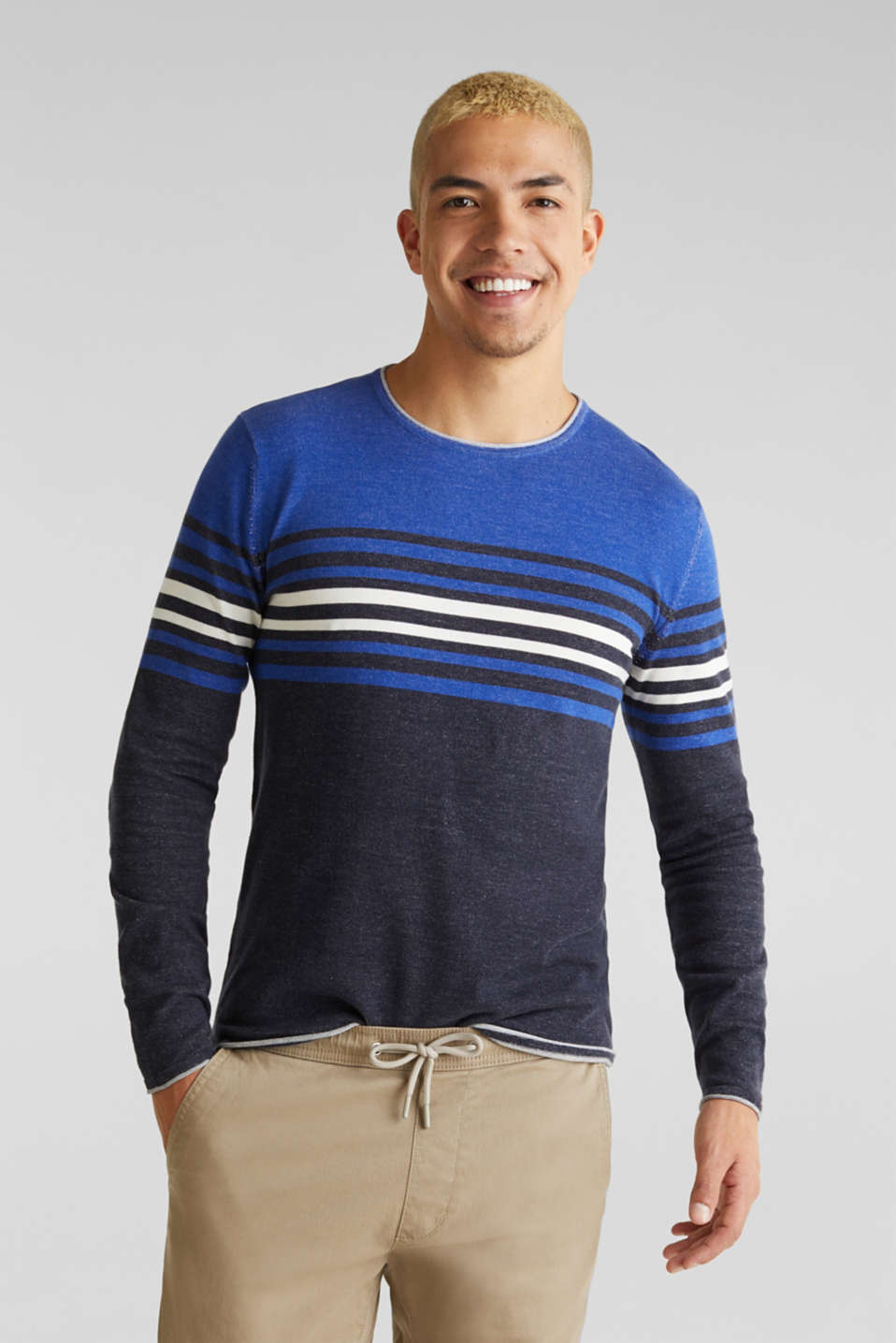Colour block jumper, 100% cotton, BLUE 3, detail image number 0