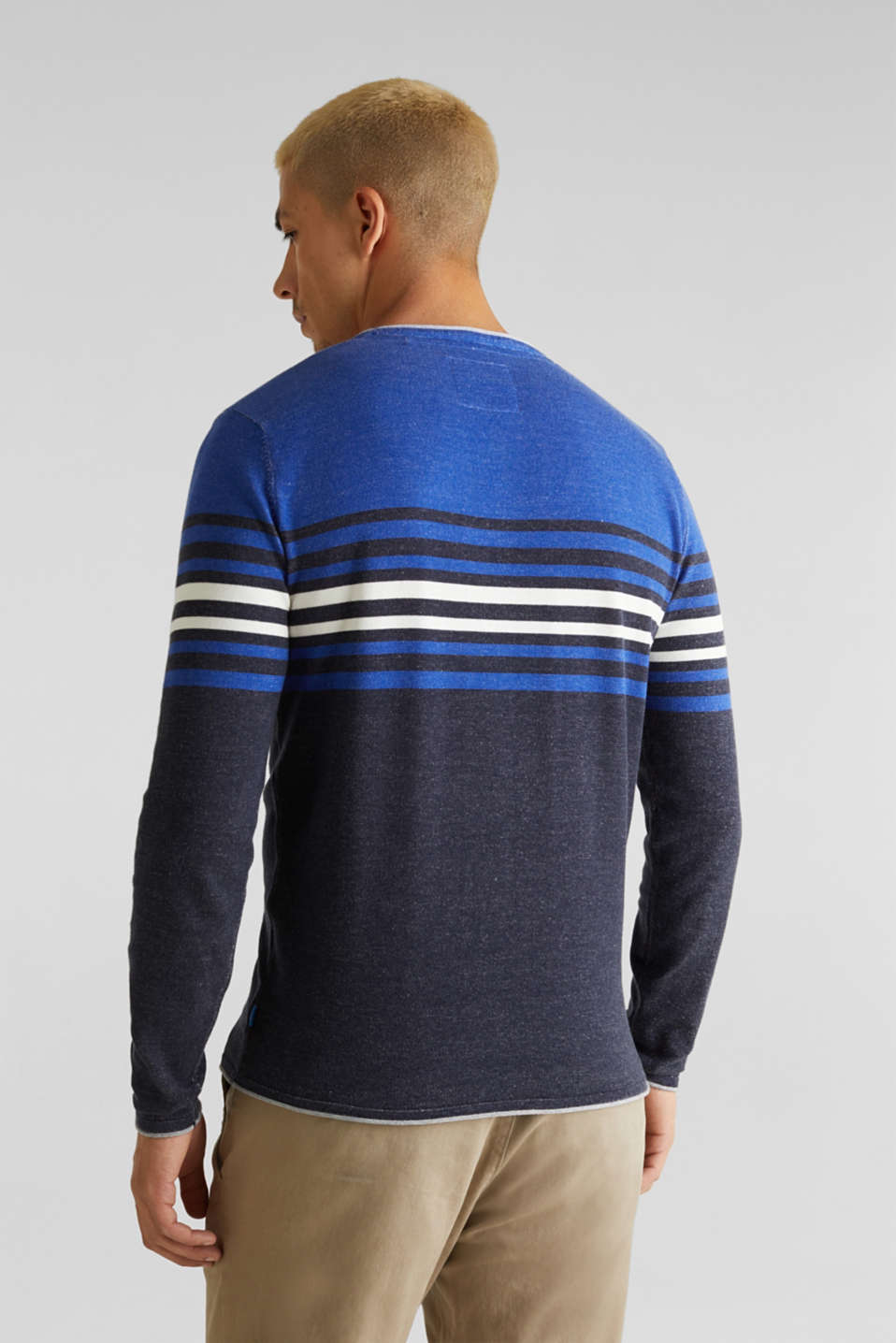 Colour block jumper, 100% cotton, BLUE 3, detail image number 3