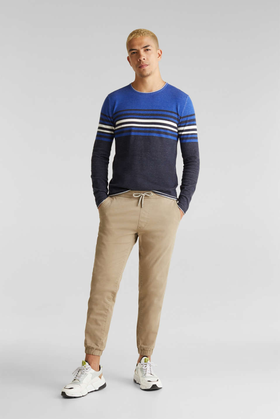 Colour block jumper, 100% cotton, BLUE 3, detail image number 1