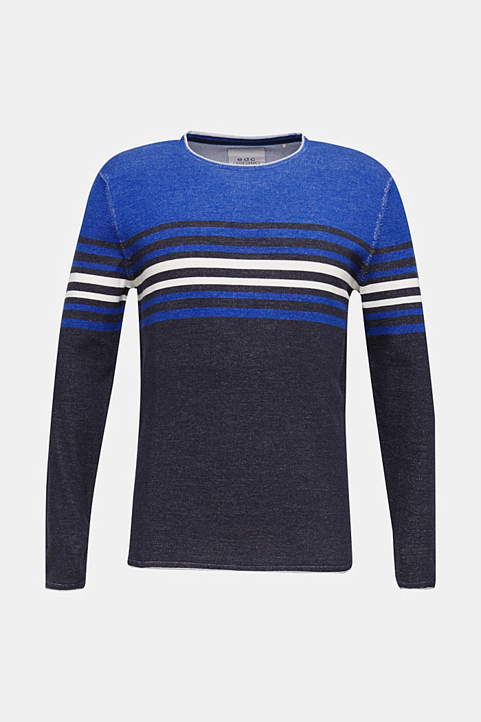 Pull-over au look colour blocking, 100% coton, BLUE, detail image number 6