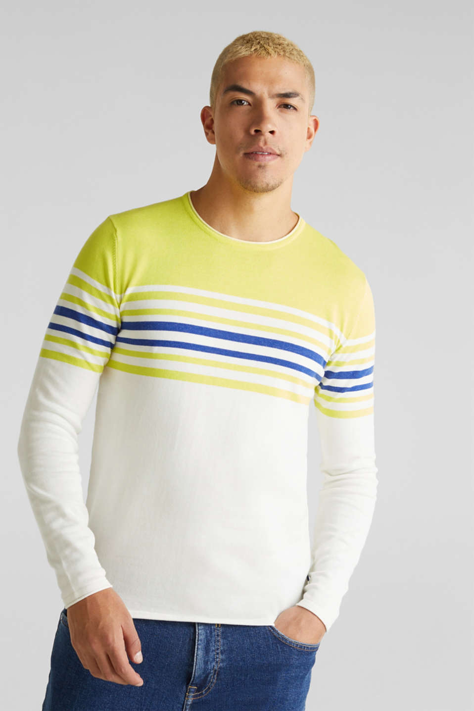 Colour block jumper, 100% cotton, BRIGHT YELLOW 3, detail image number 0