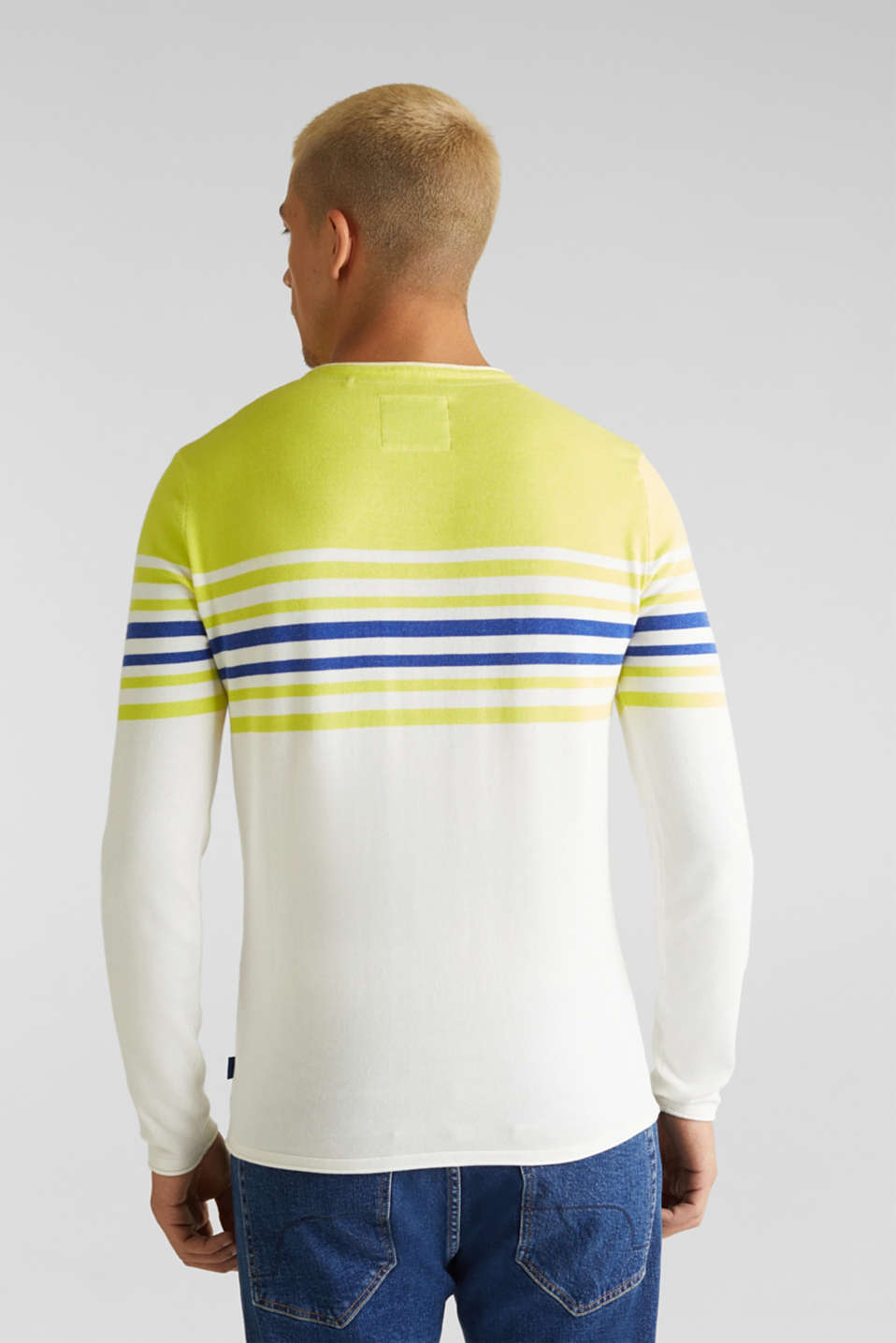Colour block jumper, 100% cotton, BRIGHT YELLOW 3, detail image number 3