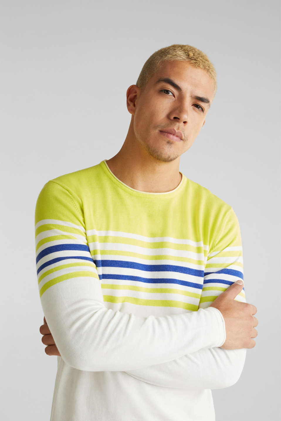 Colour block jumper, 100% cotton, BRIGHT YELLOW 3, detail image number 2