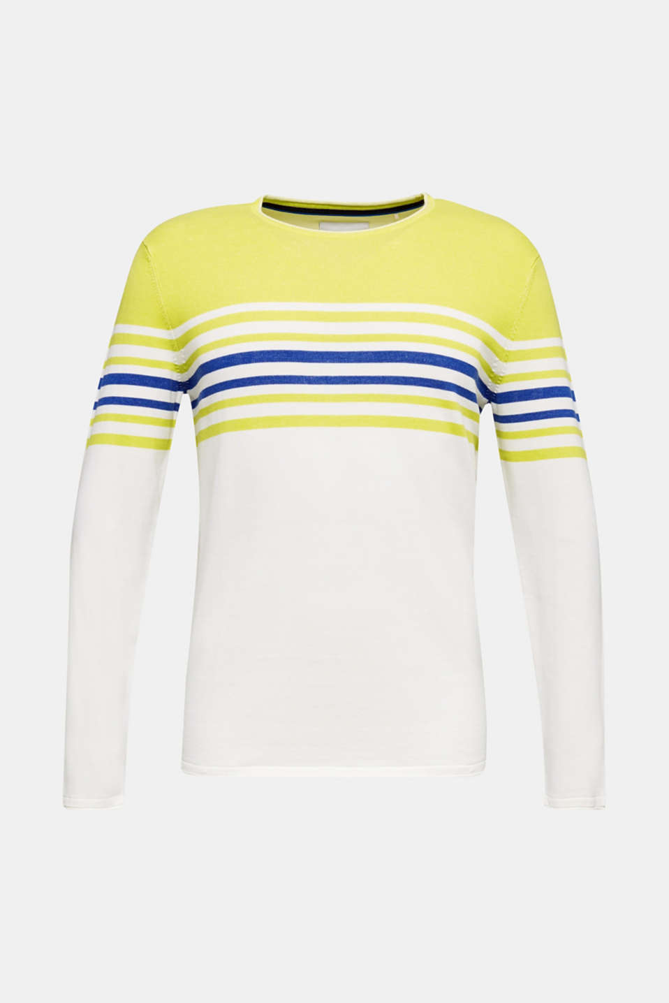 Colour block jumper, 100% cotton, BRIGHT YELLOW 3, detail image number 5