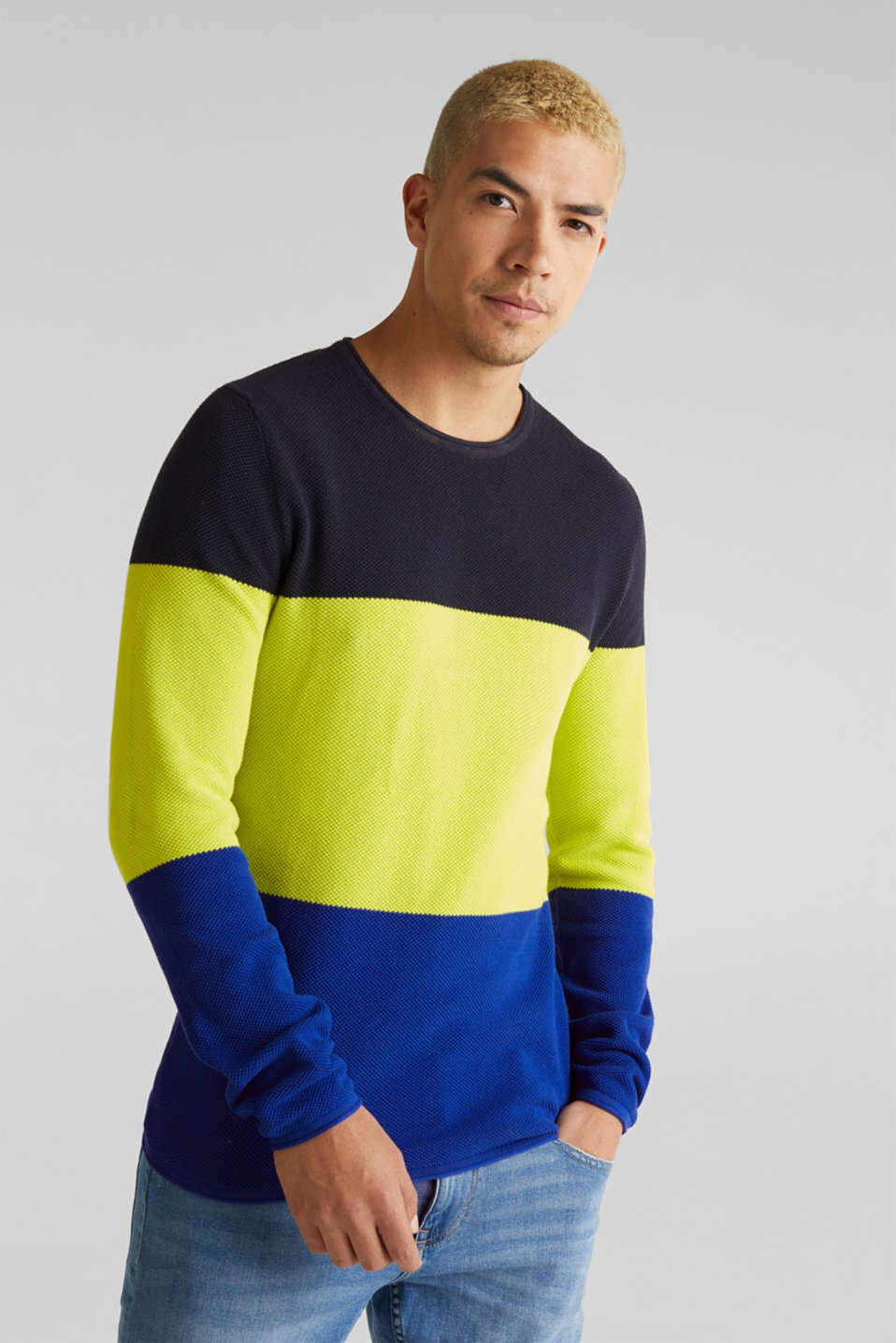 edc - NEON block stripe jumper, 100% cotton