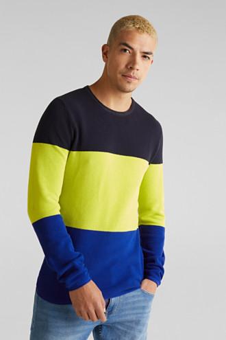 NEON block stripe jumper, 100% cotton