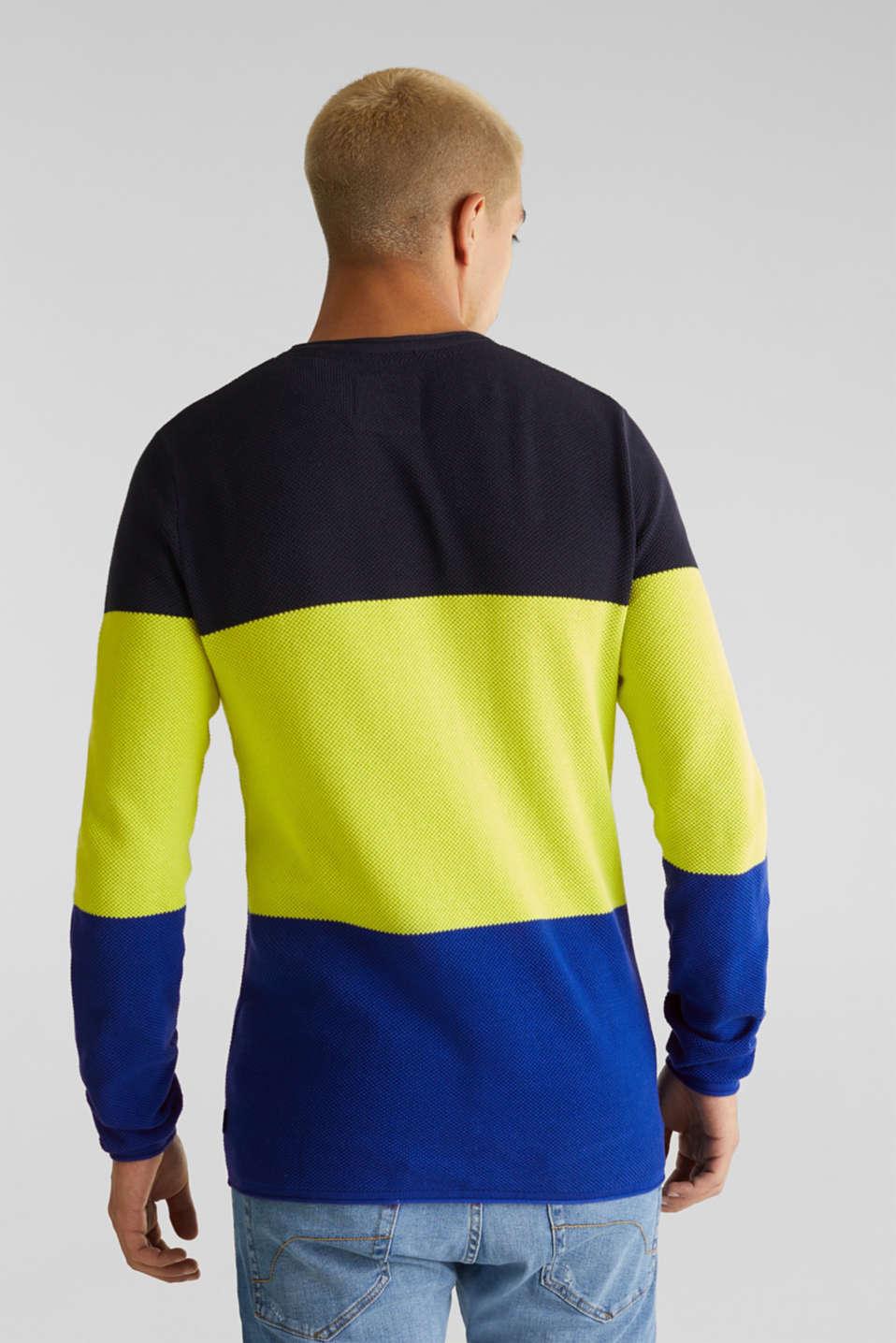 NEON block stripe jumper, 100% cotton, NAVY 3, detail image number 3