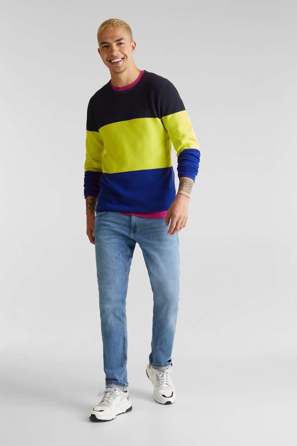 NEON block stripe jumper, 100% cotton, NAVY 3, detail image number 1