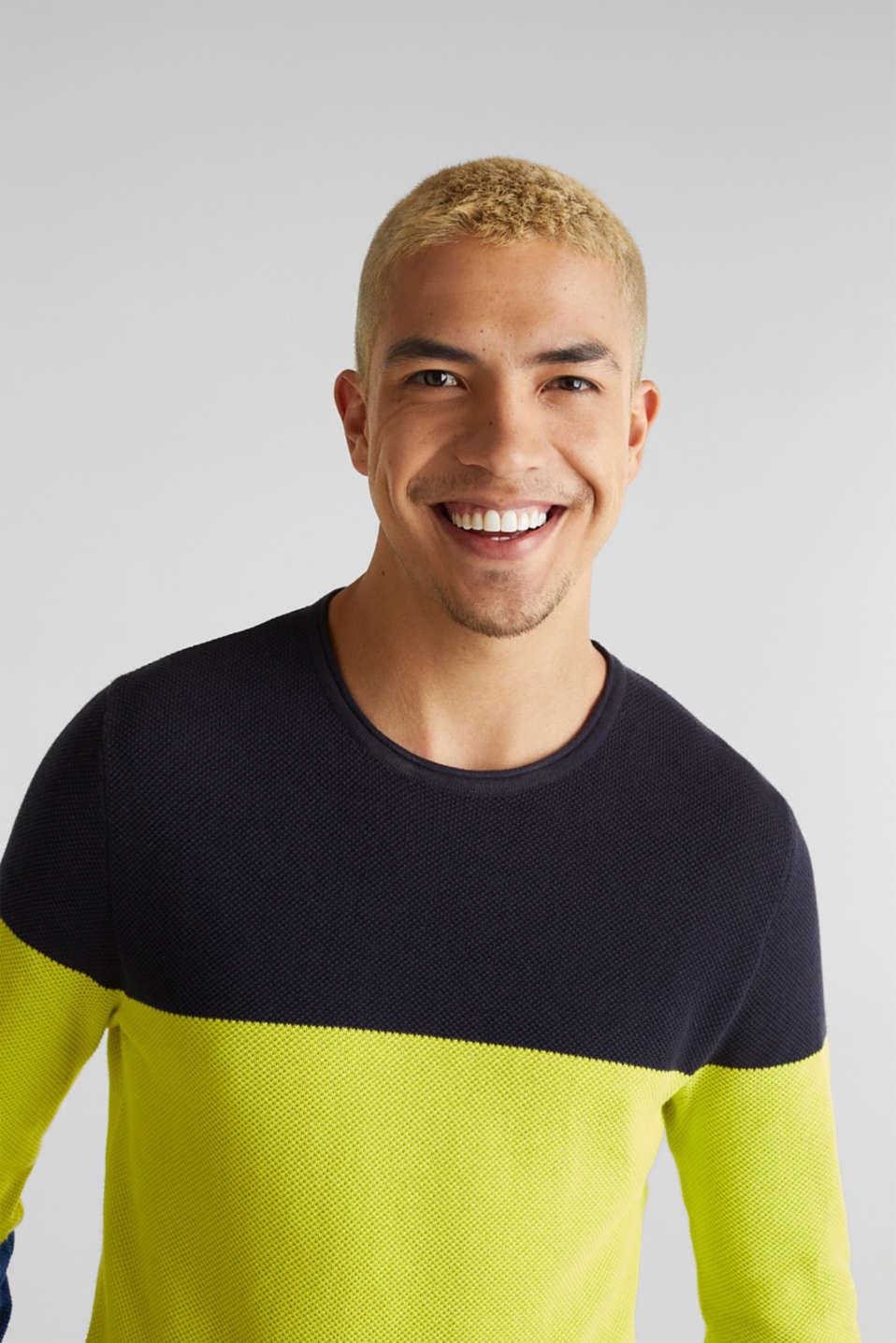 NEON block stripe jumper, 100% cotton, NAVY 3, detail image number 2