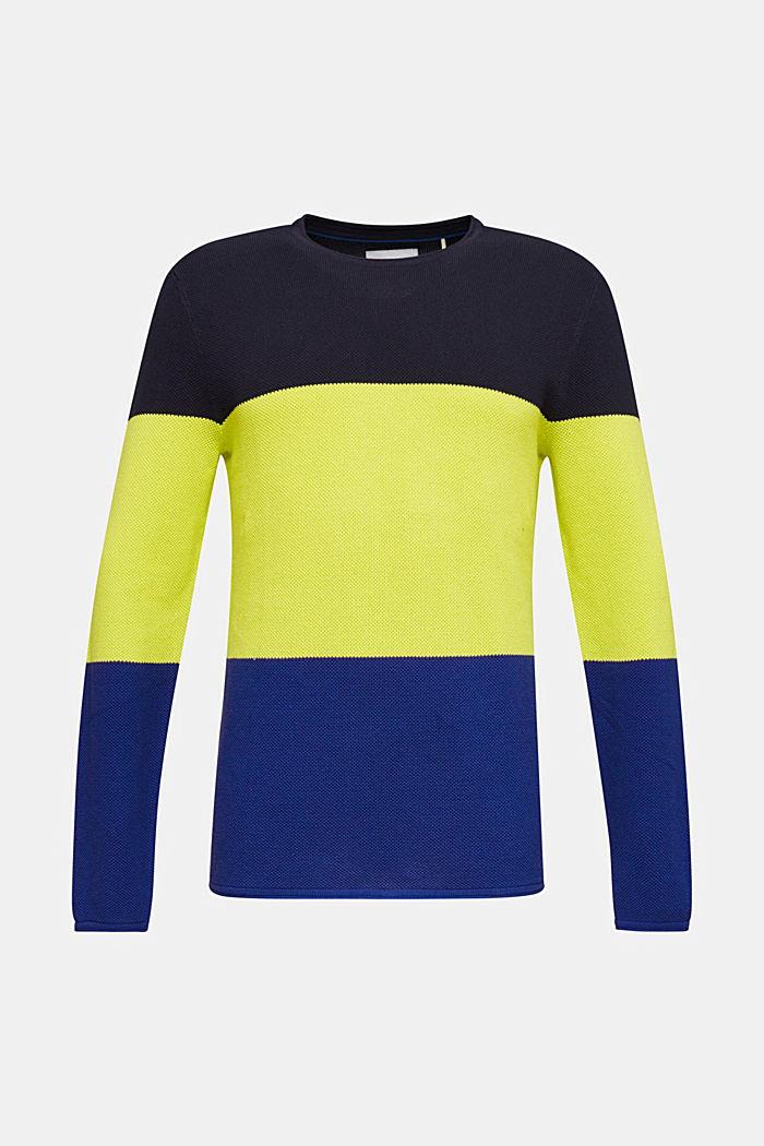 NEON block stripe jumper, 100% cotton, NAVY, detail image number 0