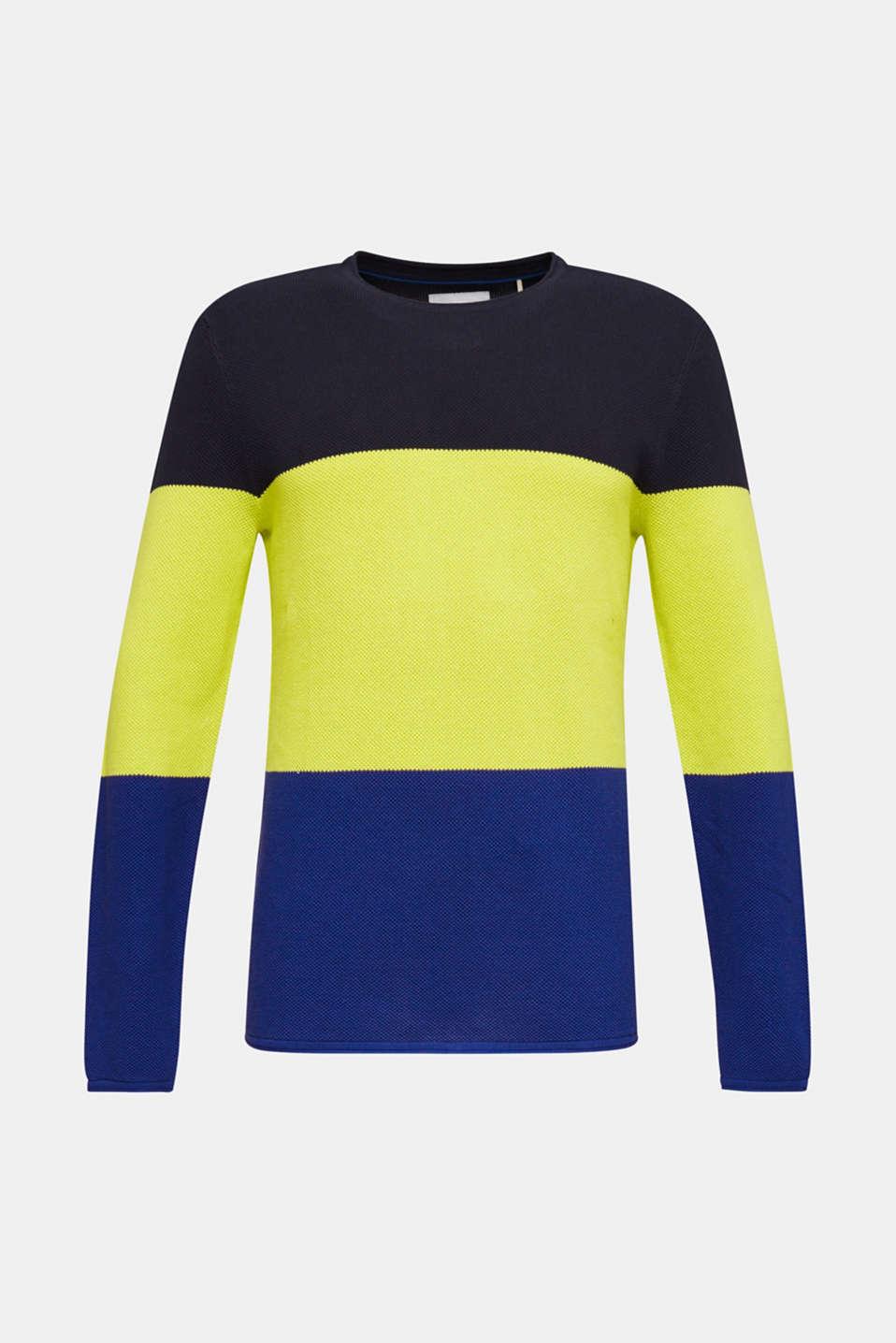 NEON block stripe jumper, 100% cotton, NAVY 3, detail image number 6