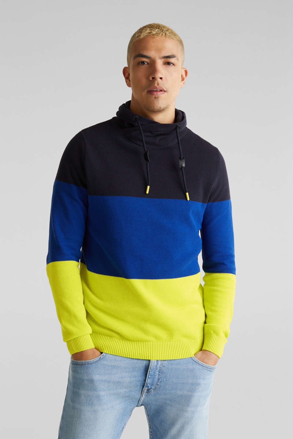 edc - NEON jumper with a drawstring collar, 100% cotton