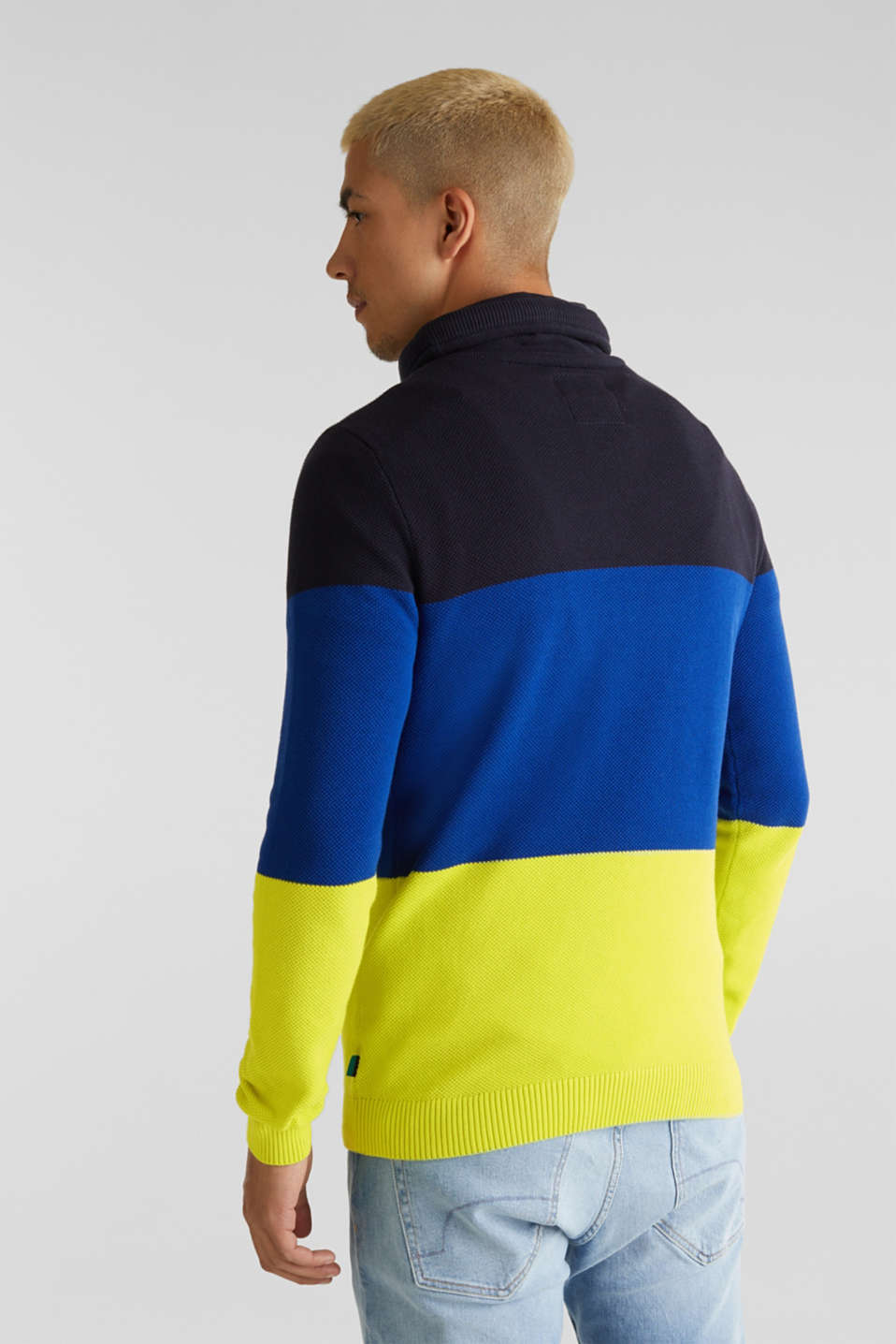 NEON jumper with a drawstring collar, 100% cotton, NAVY 3, detail image number 3