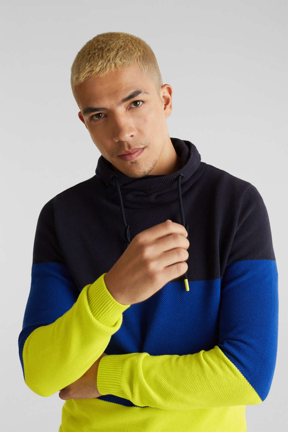 NEON jumper with a drawstring collar, 100% cotton, NAVY 3, detail image number 5
