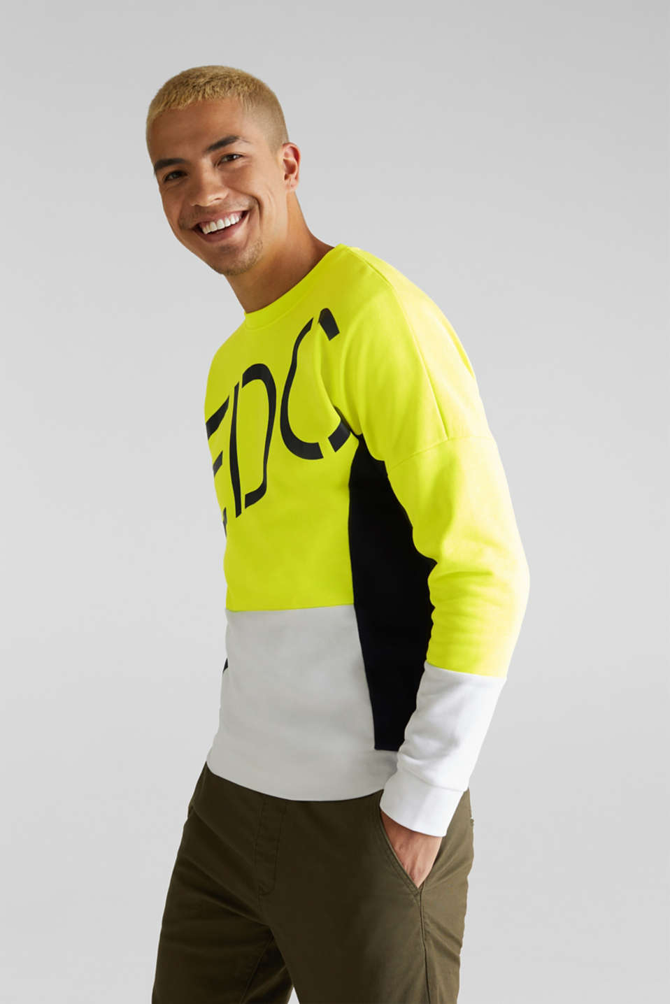 NEON sweatshirt with logo, BRIGHT YELLOW 2, detail image number 0