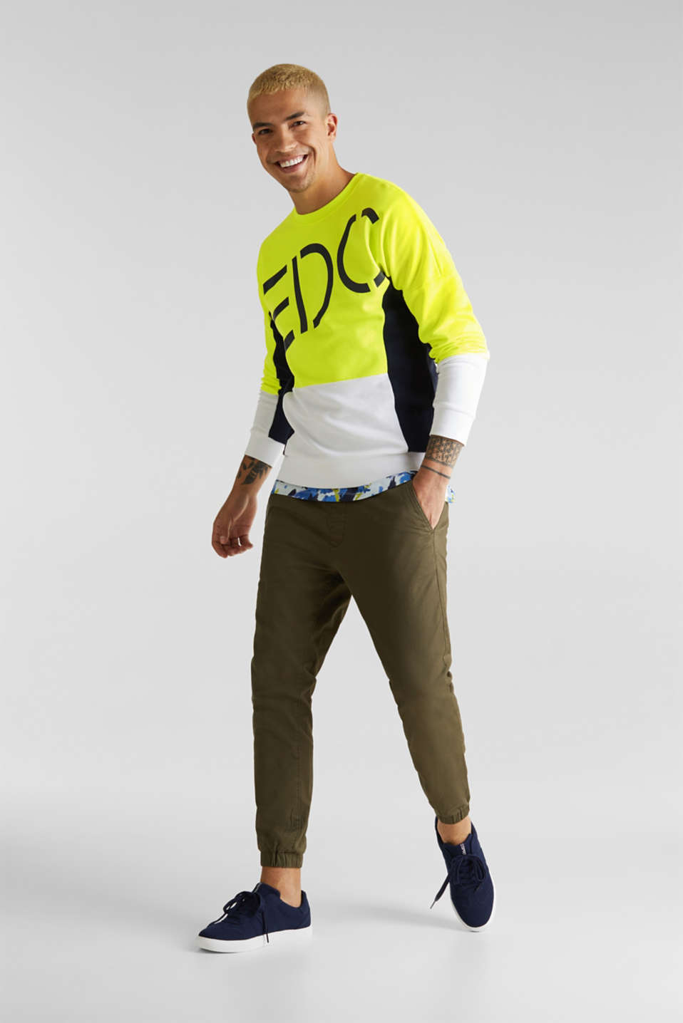 NEON sweatshirt with logo, BRIGHT YELLOW 2, detail image number 1