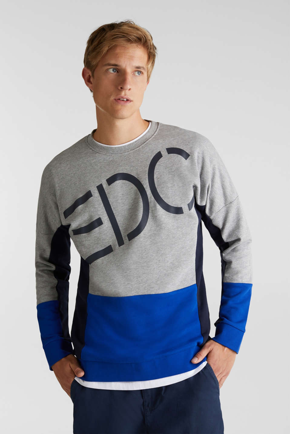 edc - Sweatshirt med logoprint og colourblocking