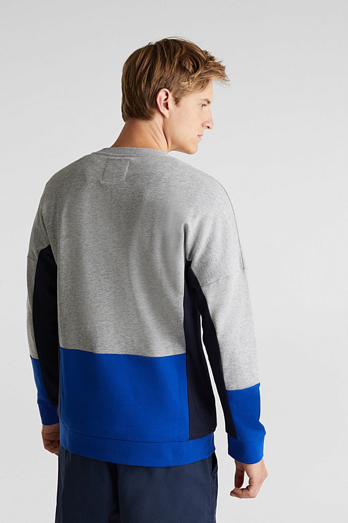 Sweatshirt with a logo print and colour blocking, MEDIUM GREY, detail image number 3