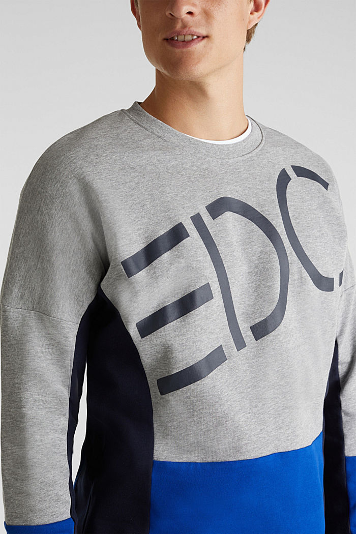 Sweatshirt with a logo print and colour blocking, MEDIUM GREY, detail image number 2