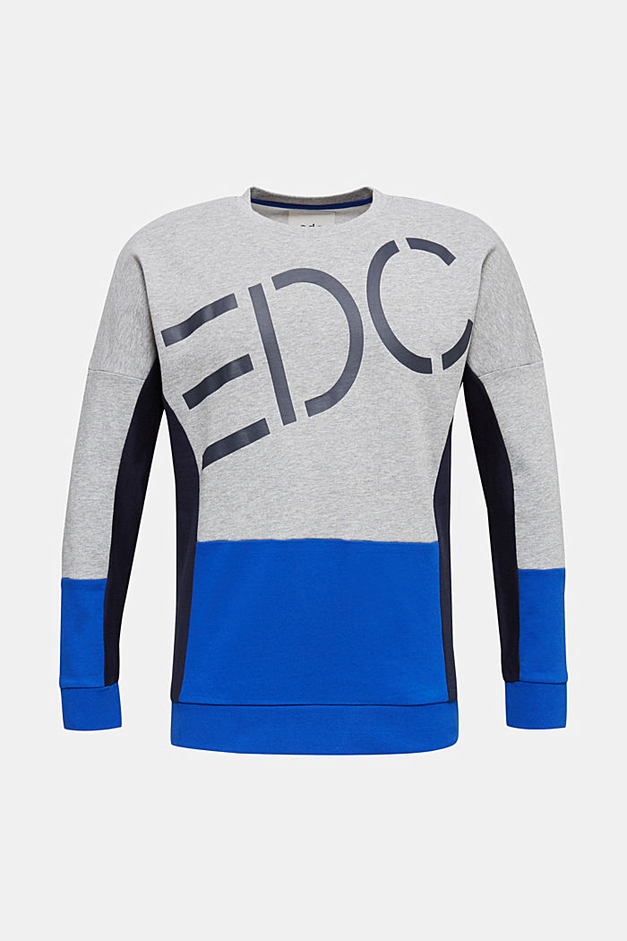 Sweatshirt with a logo print and colour blocking