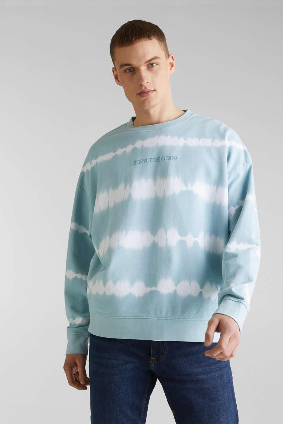 Batik sweatshirt with organic cotton, LIGHT BLUE 4, detail image number 0