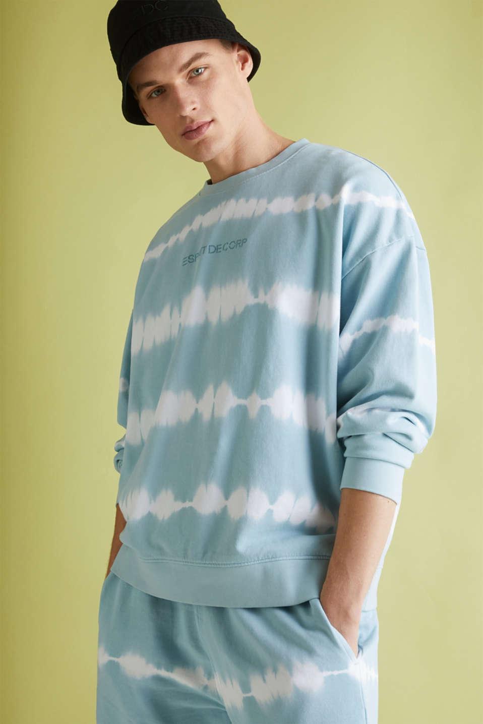 Batik sweatshirt with organic cotton, LIGHT BLUE 4, detail image number 4