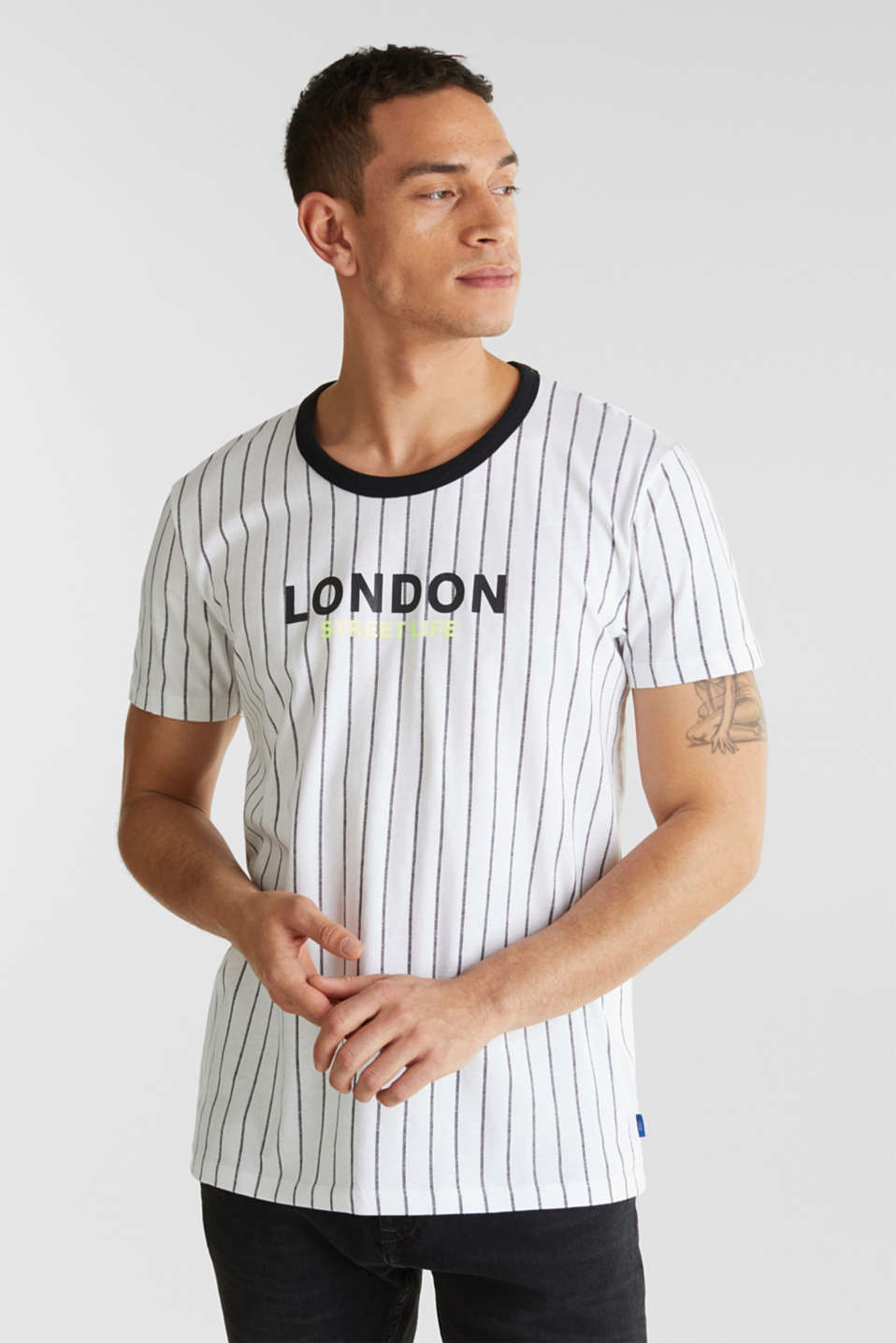 Jersey T-shirt with stripes, 100% cotton, WHITE 3, detail image number 0