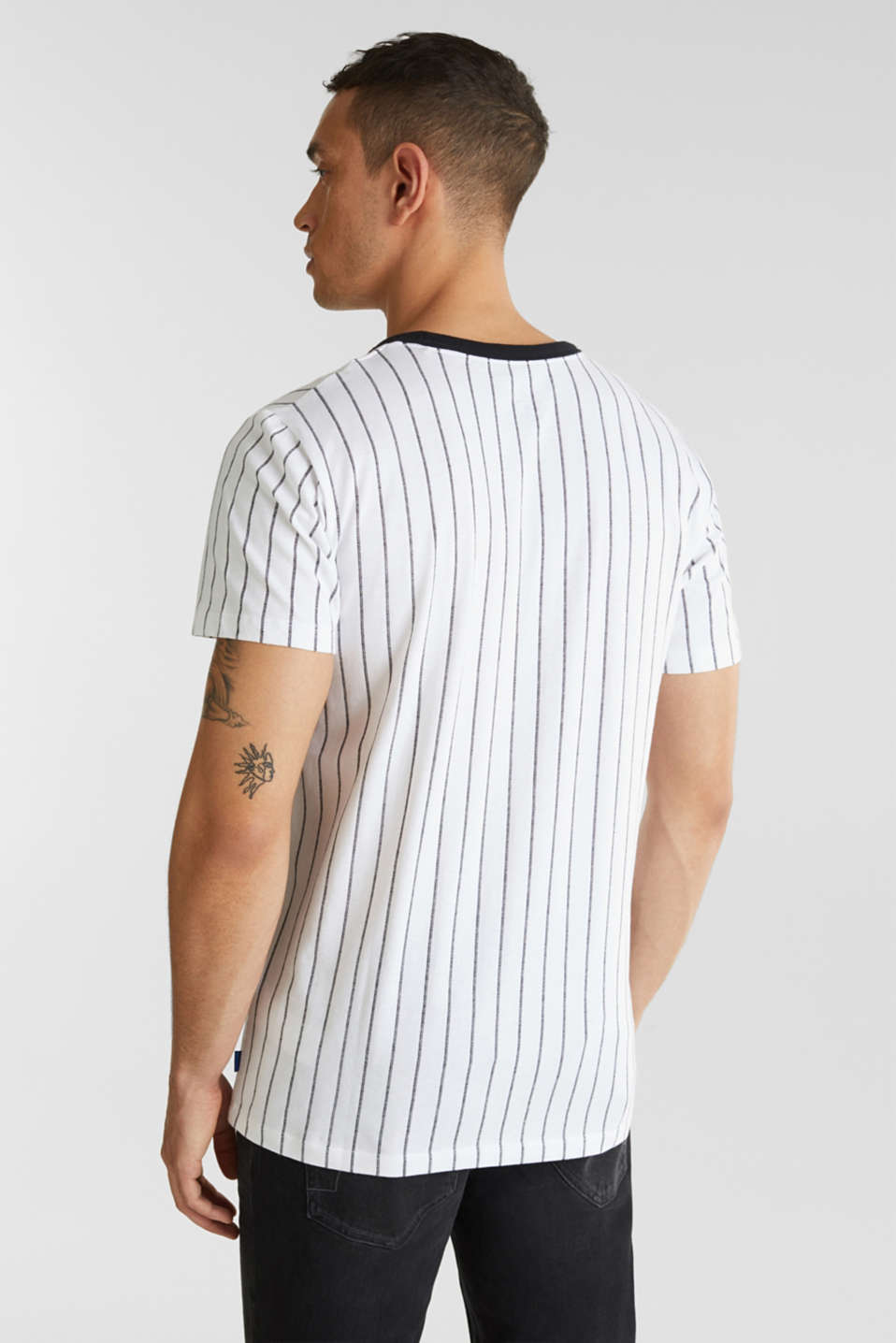 Jersey T-shirt with stripes, 100% cotton, WHITE 3, detail image number 2