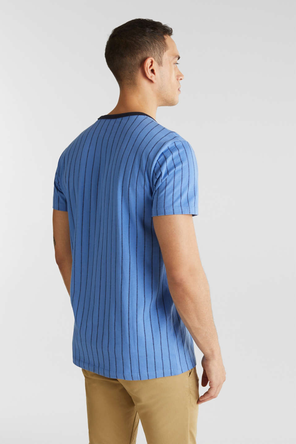 Jersey T-shirt with stripes, 100% cotton, LIGHT BLUE 3, detail image number 2
