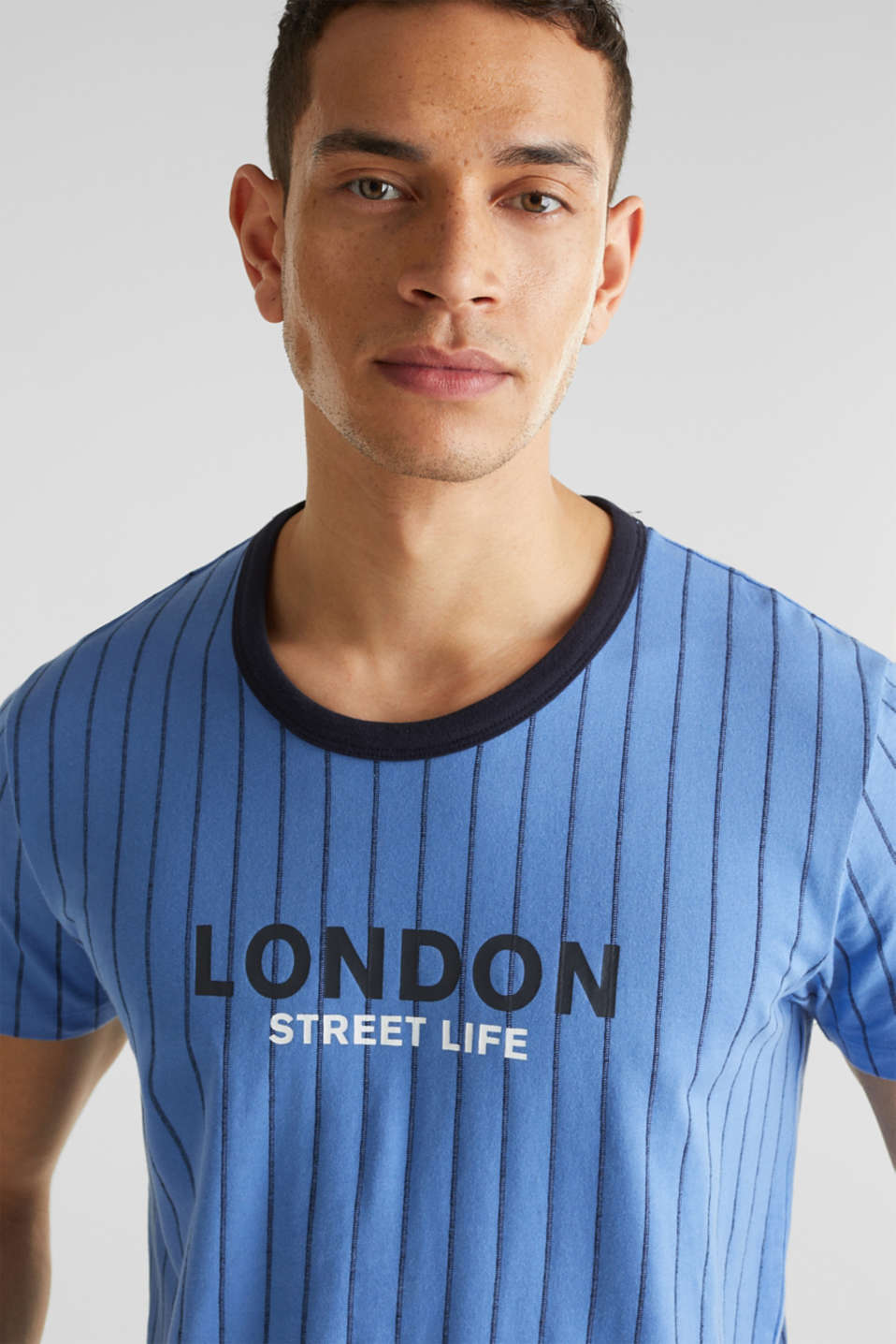 Jersey T-shirt with stripes, 100% cotton, LIGHT BLUE 3, detail image number 5