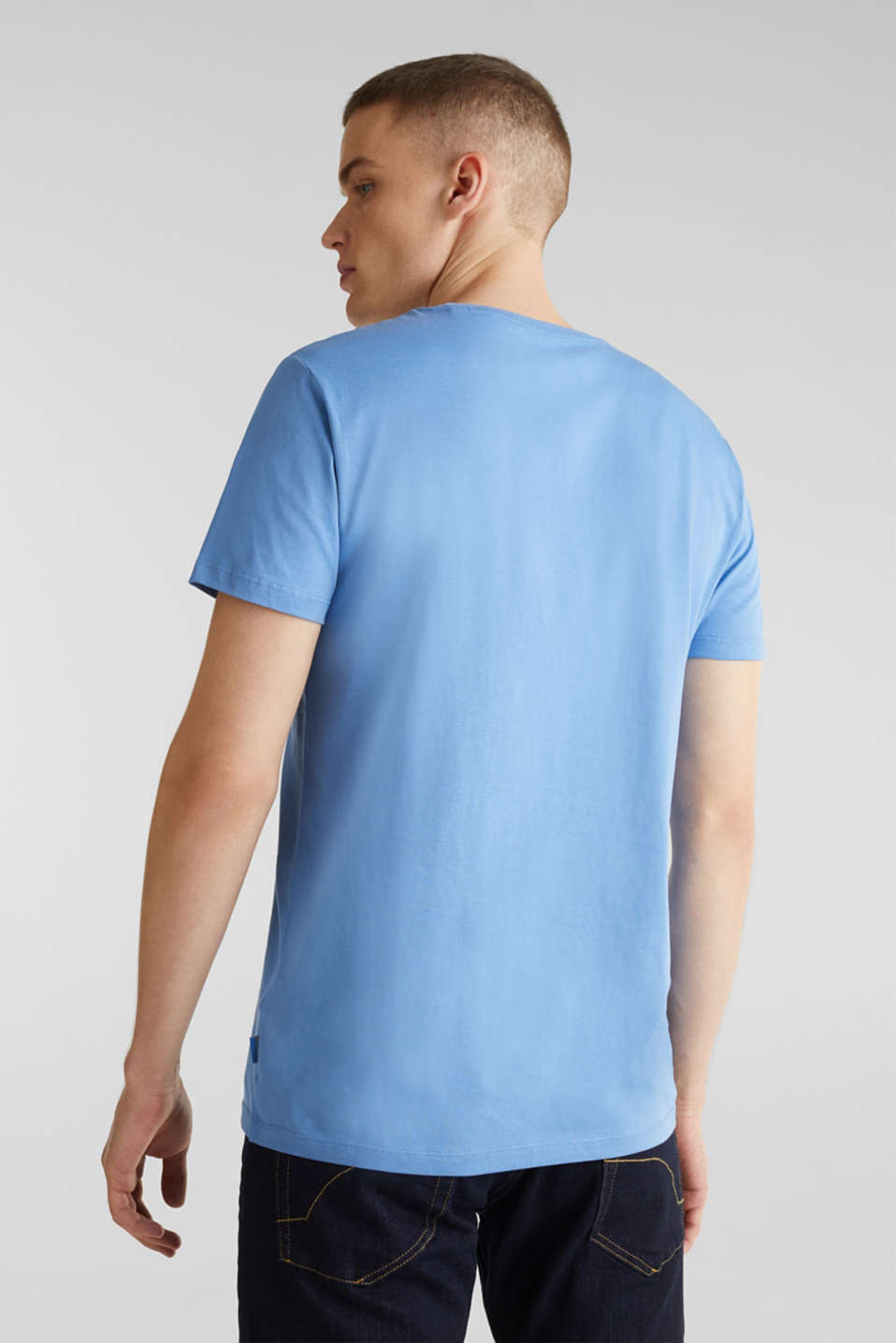 Jersey T-shirt with logo print, 100% cotton, LIGHT BLUE, detail image number 3