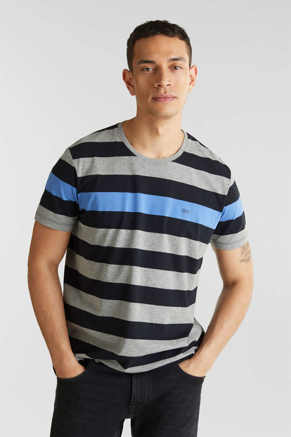 Striped jersey T-shirt, BLACK 3, detail image number 0