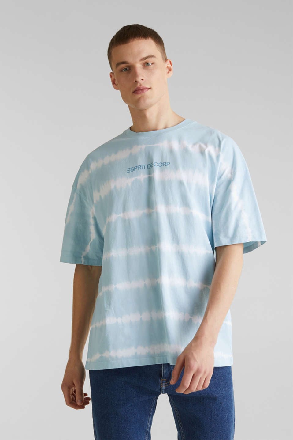 Batik T-shirt with organic cotton, LIGHT BLUE 4, detail image number 0