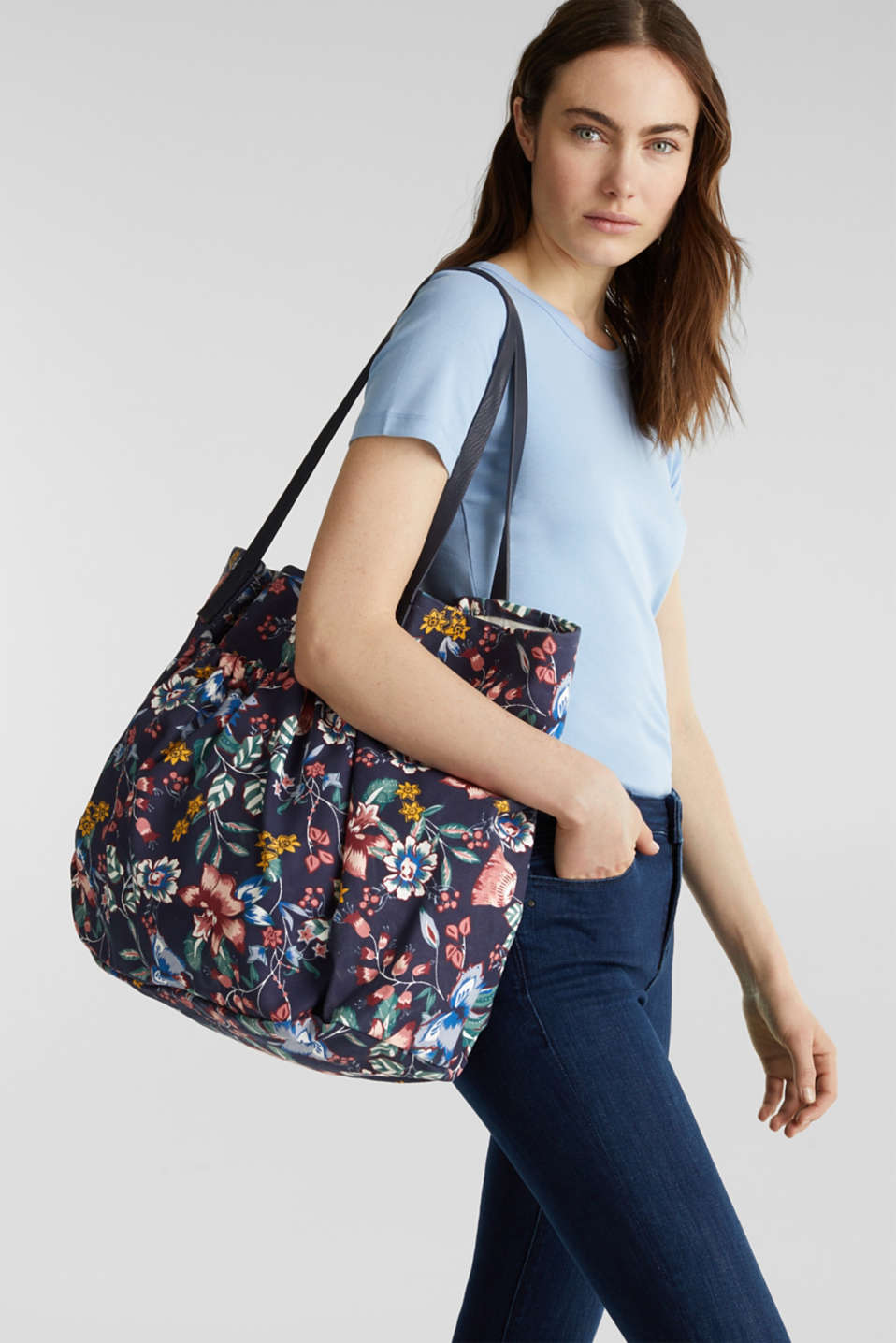 Canvas shopper made of 100% cotton, NAVY, detail image number 1