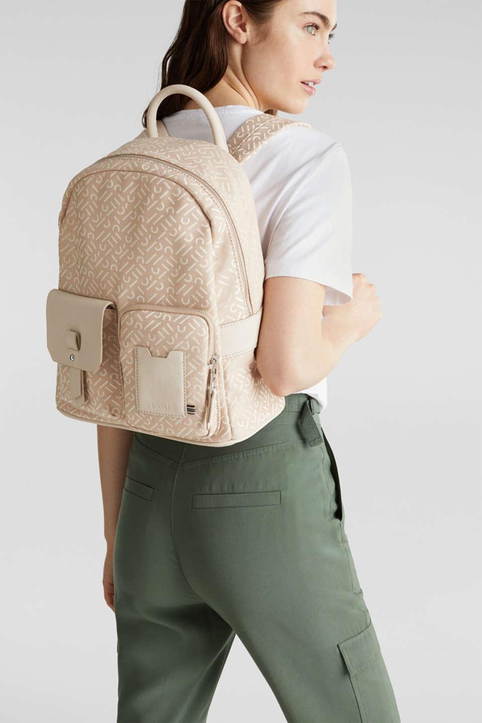 Monogrammed business rucksack, BEIGE, detail image number 1