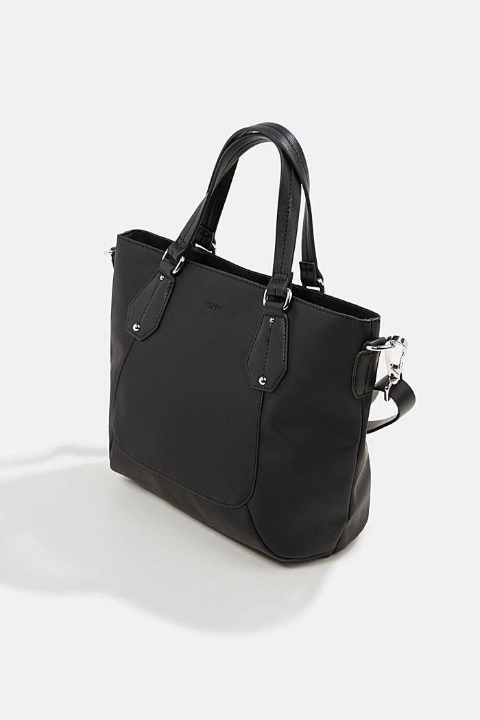 City bag in leerlook, veganistisch, BLACK, detail image number 2