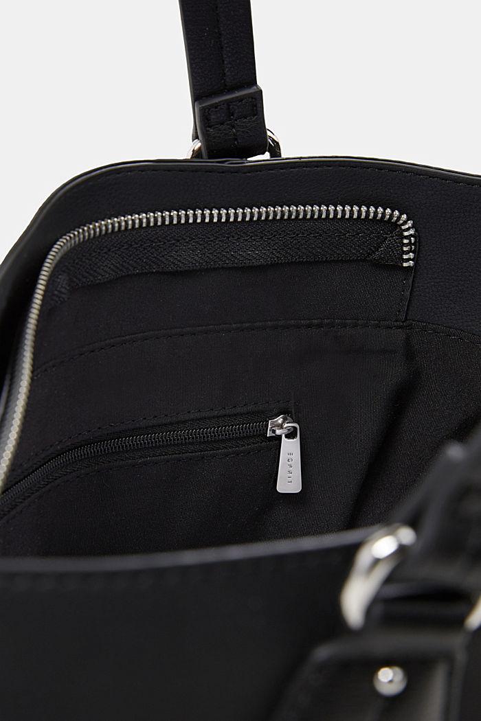 City bag in leerlook, veganistisch, BLACK, detail image number 4